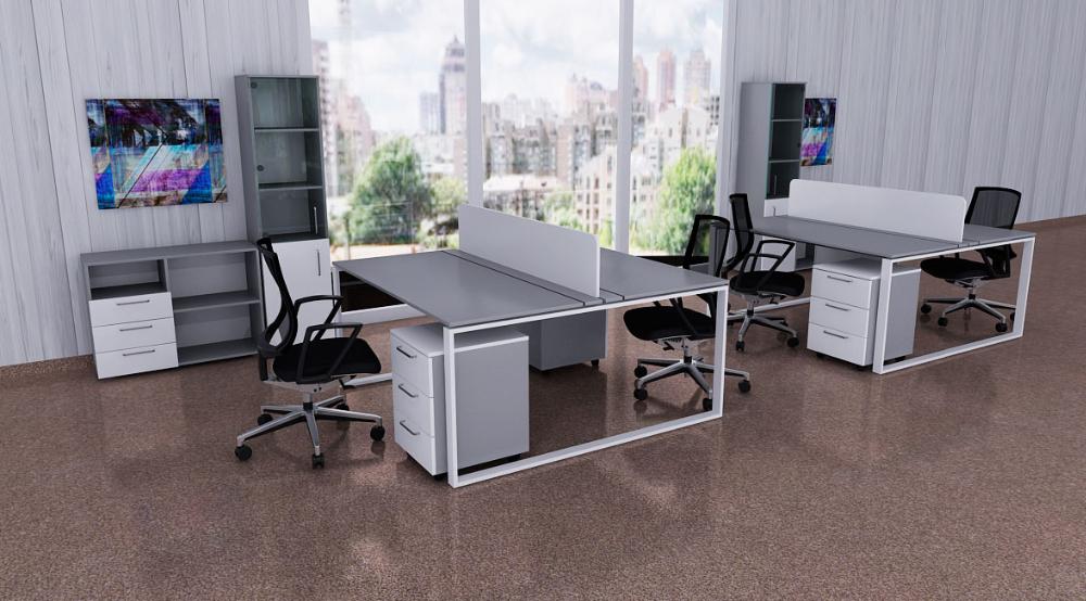 Стол с экраном на два рабочих места